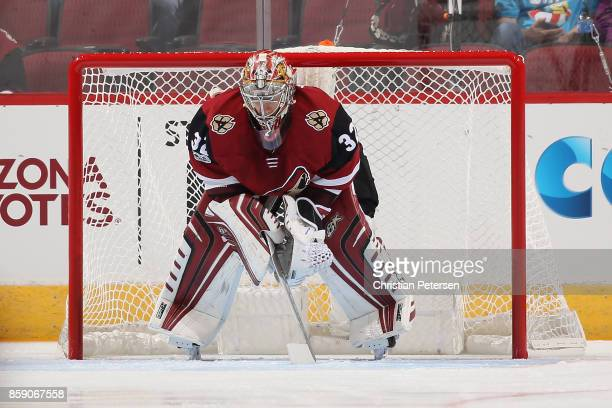 Goaltender Antti Raanta of the Arizona Coyotes in action during the NHL game against the Vegas Golden Knights at Gila River Arena on October 7 2017...