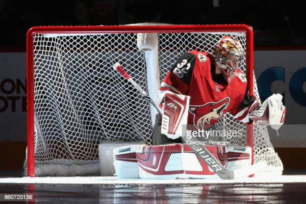 Goaltender Antti Raanta of the Arizona Coyotes is introduced before the NHL game against the Detroit Red Wings at Gila River Arena on October 12 2017...