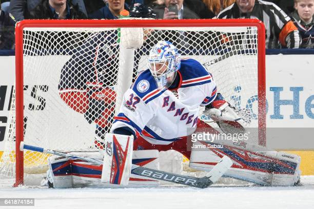 Goaltender Antti Raanta of the New York Rangers defends the net against the Columbus Blue Jackets on February 13 2017 at Nationwide Arena in Columbus...