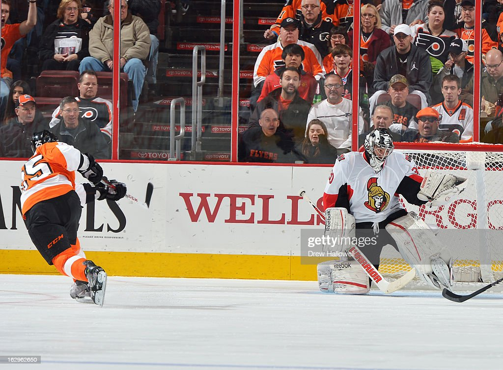 Goaltender Ben Bishop #30 of the Ottawa Senators makes a save on a shot by Maxime Talbot #25 of the Philadelphia Flyers at the Wells Fargo Center on March 2, 2013 in Philadelphia, Pennsylvania.