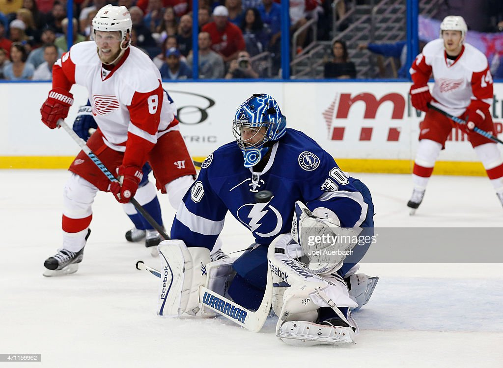 Goaltender Ben Bishop #30 of the Tampa Bay Lightning is unable to stop the shot by Riley Sheahan #15 (not pictured) of the Detroit Red Wings for the first goal of the game during the first period in Game Five of the Eastern Conference Quarterfinals during the 2015 NHL Stanley Cup Playoffs at the Amalie Arena on April 25, 2015 in Tampa, Florida. The Red Wings defeated the Lightning 4-0.