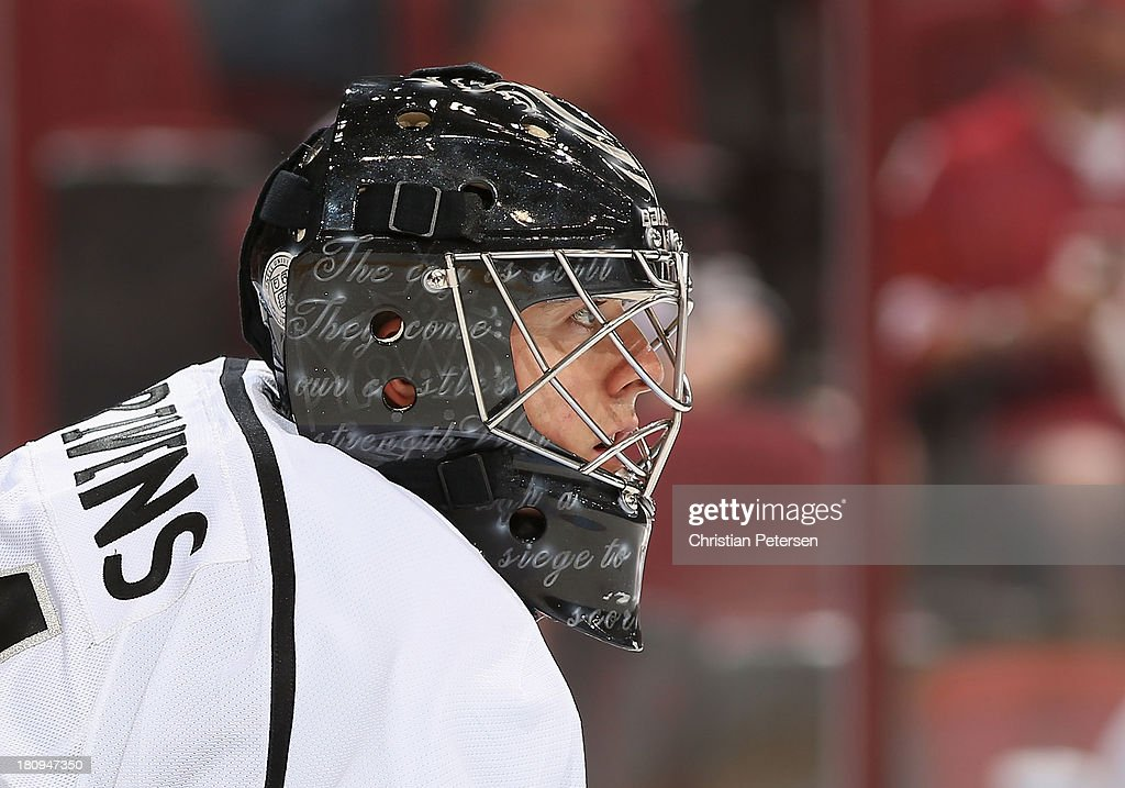 Goaltender Ben Scrivens of the Los Angeles Kings in action during the preseason NHL game against the Phoenix Coyotes at Jobingcom Arena on September...