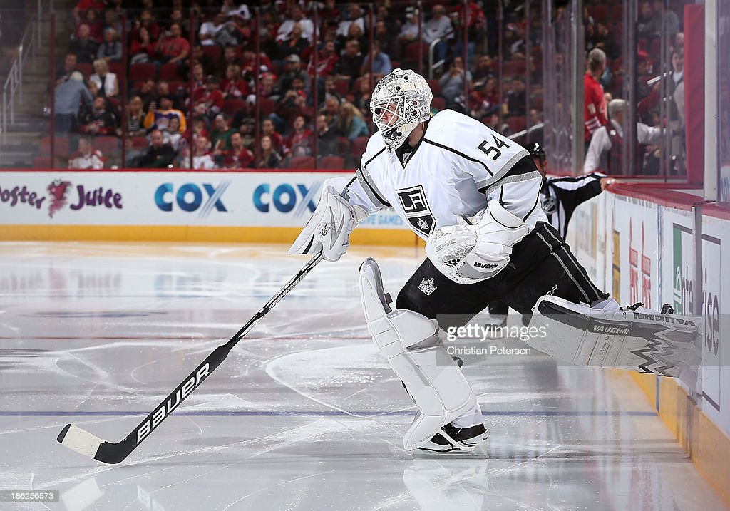 Goaltender Ben Scrivens of the Los Angeles Kings skates out onto the ice before the NHL game against the Phoenix Coyotes at Jobingcom Arena on...