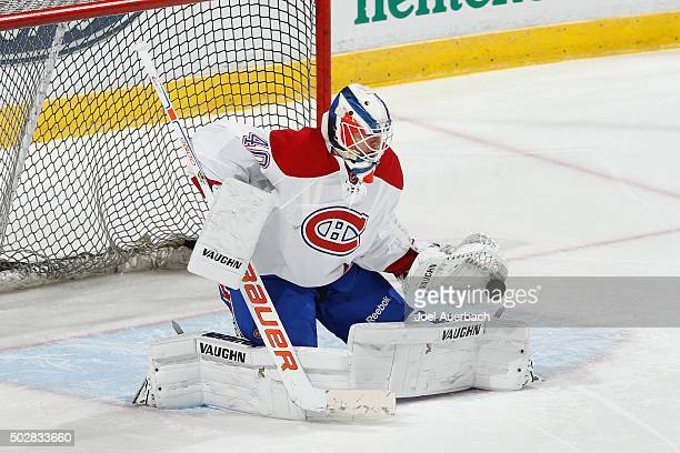 Goaltender Ben Scrivens of the Montreal Canadiens warms up prior to the game against the Florida Panthers at the BBT Center on December 29 2015 in...