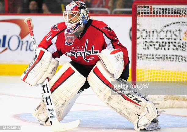 Goaltender Braden Holtby of the Washington Capitals plays in the game against the Vancouver Canucks at Verizon Center on December 2 2014 in...