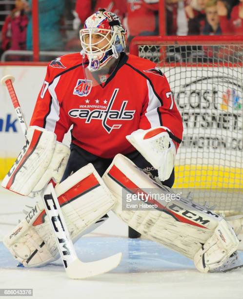 Goaltender Braden Holtby of the Washington Capitals prepares to play in the game against the Vancouver Canucks at Verizon Center on December 2 2014...