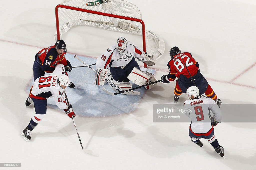 Goaltender <a gi-track='captionPersonalityLinkClicked' href=/galleries/search?phrase=Braden+Holtby&family=editorial&specificpeople=5370964 ng-click='$event.stopPropagation()'>Braden Holtby</a> #70 of the Washington Capitals stops a shot by <a gi-track='captionPersonalityLinkClicked' href=/galleries/search?phrase=Tomas+Kopecky&family=editorial&specificpeople=2234349 ng-click='$event.stopPropagation()'>Tomas Kopecky</a> #82 of the Florida Panthers at the BB&T Center on April 6, 2013 in Sunrise, Florida. The Capitals defeated the Panthers 4-3.