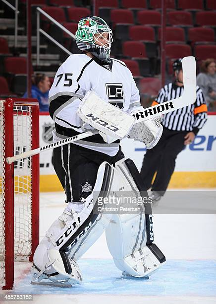Goaltender Brandon Maxwell of the Los Angeles Kings during the NHL rookie camp game against the Arizona Coyotes at Gila River Arena on September 16...