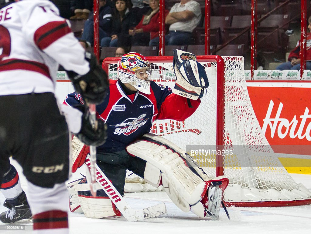 Goaltender Brendan Johnston #35 of the Windsor Spitfires deflects the puck wide of the net on a shot from forward Chris Marchese #19 of the Guelph Storm on March 12, 2015 at the WFCU Centre in Windsor, Ontario, Canada.