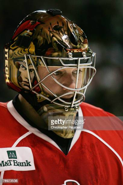 Goaltender Brian Elliott of the Binghamton Senators during the second period in the game against the Bridgeport Sound Tigers on January 13 2008 at...