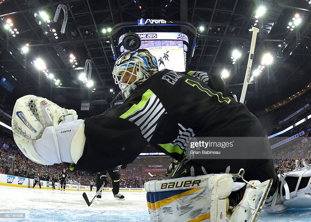 Goaltender Brian Elliott #1 of the St. Louis Blues and Team Foligno can't make the save on a shot for a goal by Rick Nash #61 of the New York Rangers and Team Toews (not in photo) in the third period of the 2015 Honda NHL All-Star Game at Nationwide Arena on January 25, 2015 in Columbus, Ohio.