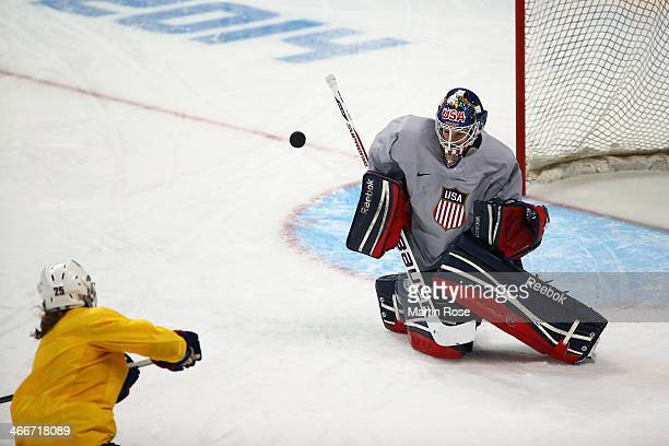 Goaltender Brianne McLaughlin of the United States in action during a training session ahead of the Sochi 2014 Winter Olympics at Shayba Arena on...