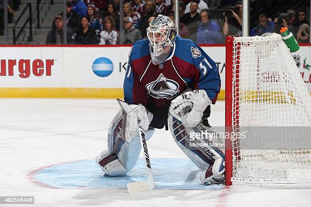 Goaltender Calvin Pickard of the Colorado Avalanche defends the net against the St Louis Blues at the Pepsi Center on December 13 2014 in Denver...
