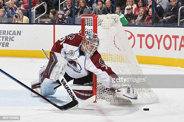 Goaltender Calvin Pickard of the Colorado Avalanche defends the net against the Columbus Blue Jackets on January 16 2016 at Nationwide Arena in...
