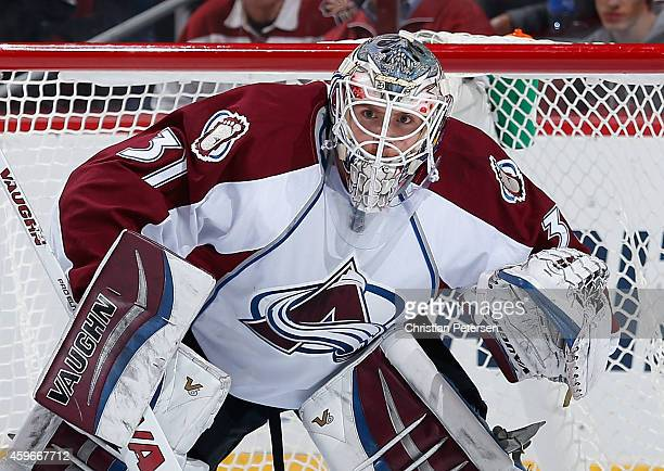 Goaltender Calvin Pickard of the Colorado Avalanche in action during the NHL game against the Arizona Coyotes at Gila River Arena on November 25 2014...