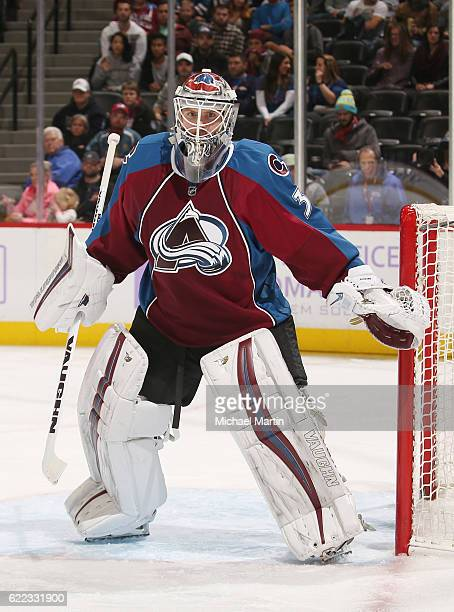 Goaltender Calvin Pickard of the Colorado Avalanche looks on against the Arizona Coyotes at the Pepsi Center on November 8 2016 in Denver Colorado...