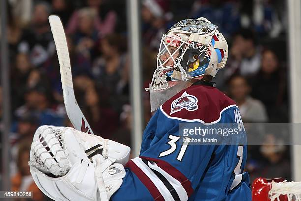 Goaltender Calvin Pickard of the Colorado Avalanche pauses during the game against the Dallas Stars at the Pepsi Center on November 29 2014 in Denver...