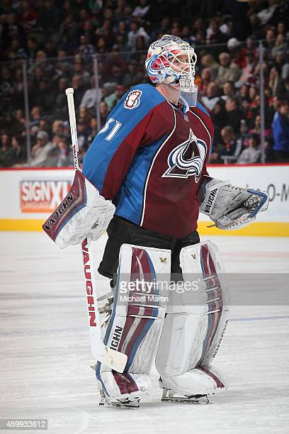 Goaltender Calvin Pickard of the Colorado Avalanche skates during a time out against the Montreal Canadiens at the Pepsi Center on December 1 2014 in...