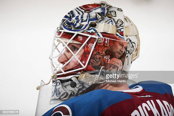 Goaltender Calvin Pickard of the Colorado Avalanche skates prior to the game against the Tampa Bay Lightning at the Pepsi Center on January 12 2016...