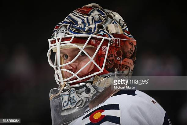 Goaltender Calvin Pickard of the Colorado Avalanche skates prior to the game against the Minnesota Wild at the Pepsi Center on March 26 2016 in...