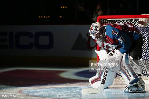 Goaltender Calvin Pickard of the Colorado Avalanche stands in goal prior to the game against the Dallas Stars at the Pepsi Center on February 4 2016...