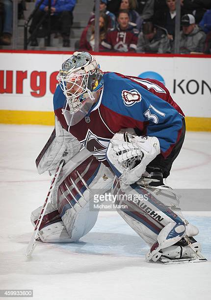 Goaltender Calvin Pickard of the Colorado Avalanche stands ready against the Montreal Canadiens at the Pepsi Center on December 1 2014 in Denver...
