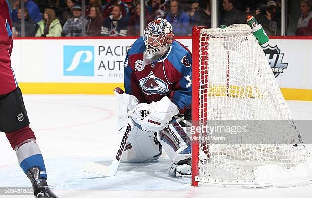 Goaltender Calvin Pickard of the Colorado Avalanche stands ready against the Calgary Flames at the Pepsi Center on January 2 2016 in Denver Colorado...