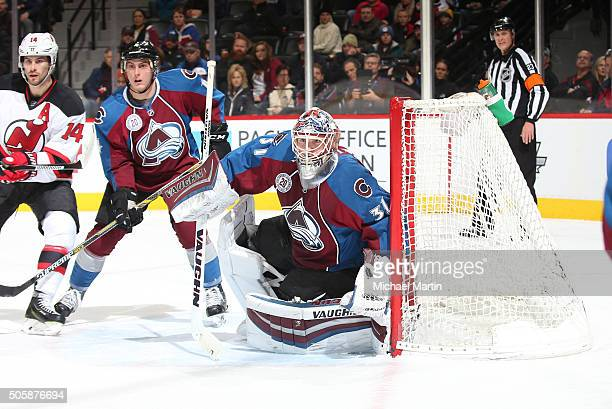 Goaltender Calvin Pickard of the Colorado Avalanche stands ready against the New Jersey Devils at the Pepsi Center on January 14 2016 in Denver...
