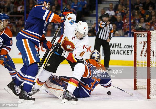 Goaltender Cam Talbot of the Edmonton Oilers lets in a goal by Joe Colborne of the Calgary Flames that was later called back on April 2 2016 at...