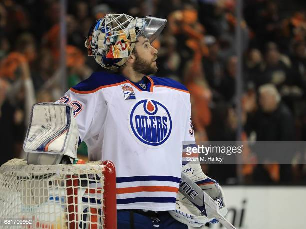 Goaltender Cam Talbot of the Edmonton Oilers looks on against the Anaheim Ducks in Game Seven of the Western Conference Second Round during the 2017...