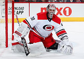 Goaltender Cam Ward of the Carolina Hurricanes in action during the NHL game against the Arizona Coyotes at Gila River Arena on February 5 2015 in...