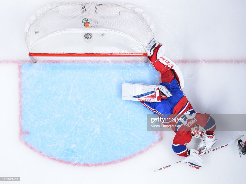 Goaltender Carey Price #31 of the Montreal Canadiens allows a goal in overtime against the New York Rangers in Game Five of the Eastern Conference First Round during the 2017 NHL Stanley Cup Playoffs at the Bell Centre on April 20, 2017 in Montreal, Quebec, Canada. The New York Rangers defeated the Montreal Canadiens 3-2 in overtime.
