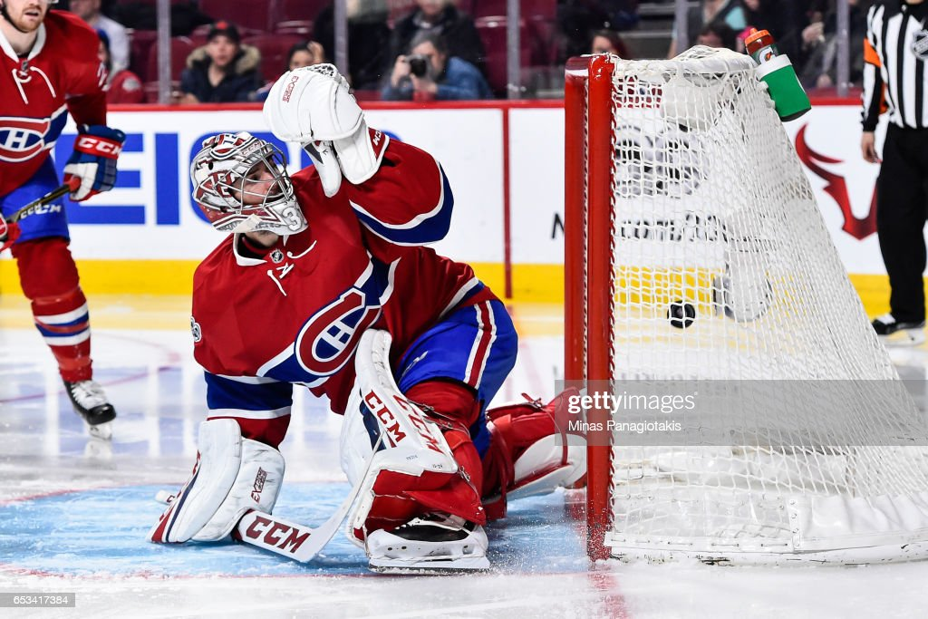 Goaltender Carey Price #31 of the Montreal Canadiens allows a goal in the third period during the NHL game against the Chicago Blackhawks at the Bell Centre on March 14, 2017 in Montreal, Quebec, Canada. The Chicago Blackhawks defeated the Montreal Canadiens 4-2.