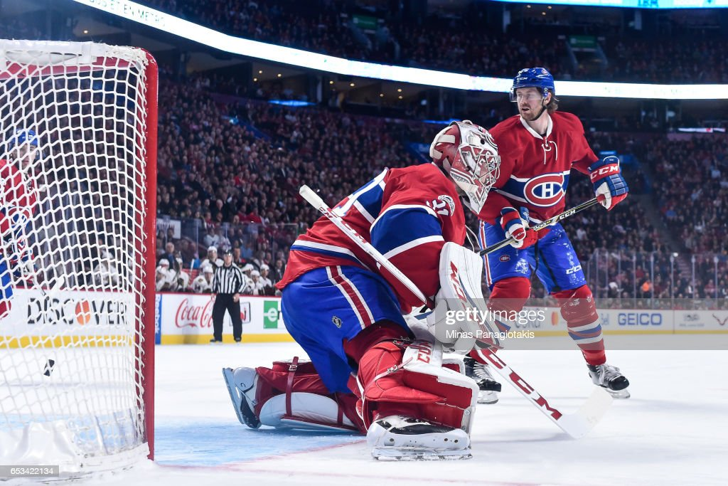 Goaltender Carey Price #31 of the Montreal Canadiens allows a goal in the second period during the NHL game against the Chicago Blackhawks at the Bell Centre on March 14, 2017 in Montreal, Quebec, Canada. The Chicago Blackhawks defeated the Montreal Canadiens 4-2.