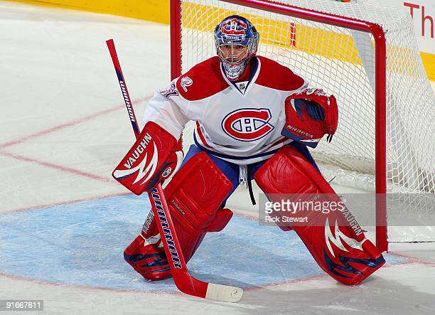 Goaltender Carey Price of the Montreal Canadiens defends his net during their NHL game against the Buffalo Sabres at HSBC Arena on October 3 2009 in...