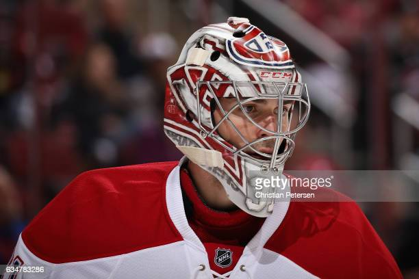 Goaltender Carey Price of the Montreal Canadiens during the NHL game against the Arizona Coyotes at Gila River Arena on February 9 2017 in Glendale...