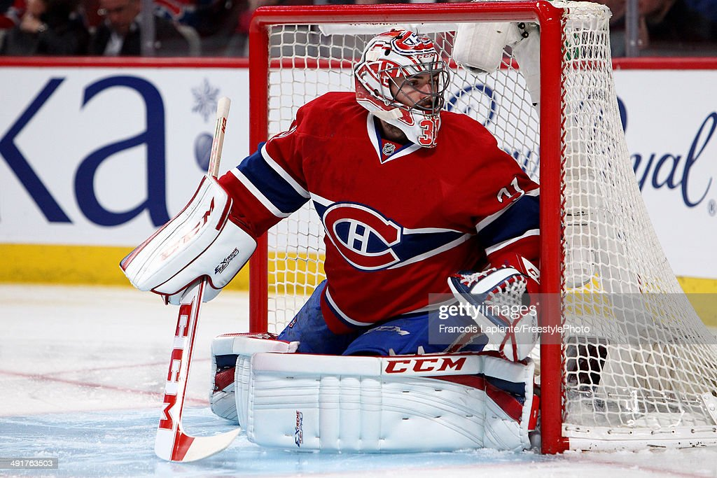 Goaltender Carey Price #31 of the Montreal Canadiens in net in the first period while taking on the New York Rangers in Game One of the Eastern Conference Finals of the 2014 NHL Stanley Cup Playoffs at the Bell Centre on May 17, 2014 in Montreal, Canada.
