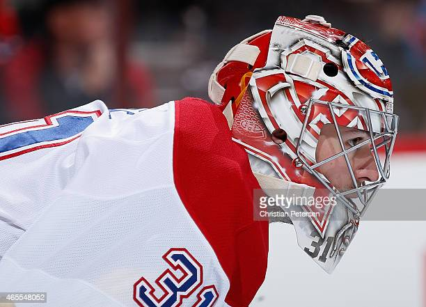 Goaltender Carey Price of the Montreal Canadiens looks down ice during the first period of the NHL game against the Arizona Coyotes at Gila River...