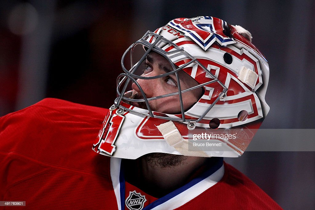 Goaltender Carey Price #31 of the Montreal Canadiens looks on while taking on the New York Rangers in Game One of the Eastern Conference Finals of the 2014 NHL Stanley Cup Playoffs at the Bell Centre on May 17, 2014 in Montreal, Canada.