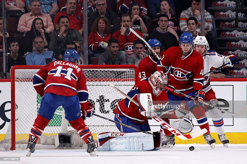 Goaltender Carey Price #31 of the Montreal Canadiens makes a save in the first period while taking on the New York Rangers in Game One of the Eastern Conference Finals of the 2014 NHL Stanley Cup Playoffs at the Bell Centre on May 17, 2014 in Montreal, Canada.