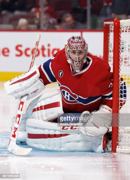 Goaltender Carey Price of the Montreal Canadiens plays in the game against the Los Angeles Kings at the Bell Centre on December 12 2014 in Montreal...