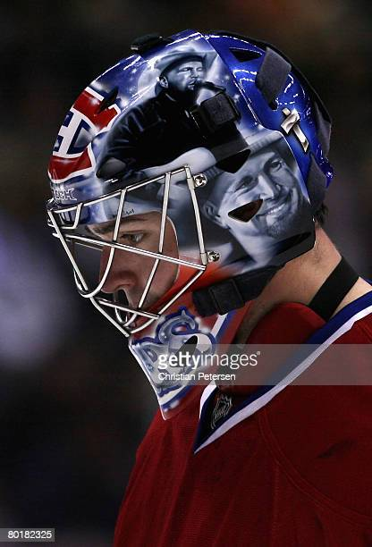 Goaltender Carey Price of the Montreal Canadiens reacts during the NHL game against the Anaheim Ducks at Honda Center on March 9 2008 in Anaheim...