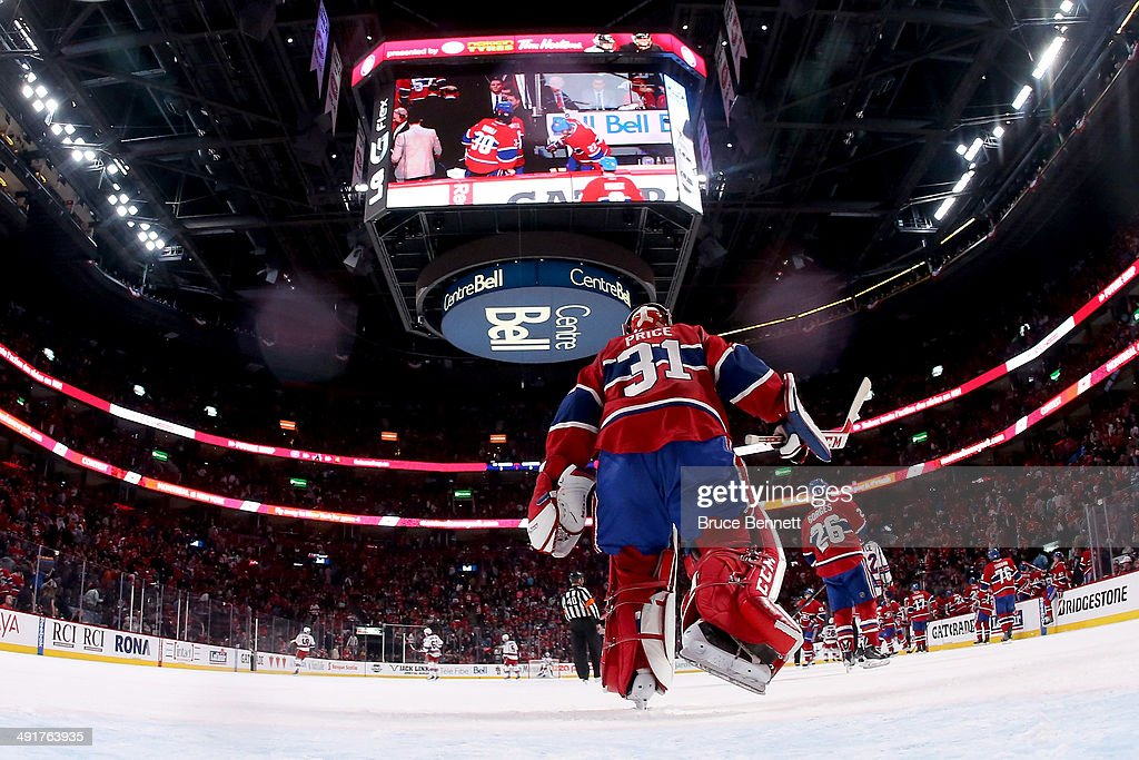 Goaltender Carey Price #31 of the Montreal Canadiens skates towards the lockerroom after the end of the first period while taking on the New York Rangers in Game One of the Eastern Conference Finals of the 2014 NHL Stanley Cup Playoffs at the Bell Centre on May 17, 2014 in Montreal, Canada.
