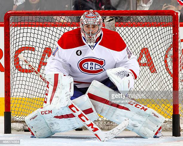 Goaltender Carey Price of the Montreal Canadiens takes part in the pregame warm up prior to NHL action against the Winnipeg Jets on March 26 2015 at...