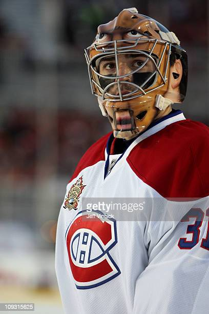 Goaltender Carey Price the Montreal Canadiens looks on during a break in game action in the second period during the 2011 NHL Tim Hortons Heritage...