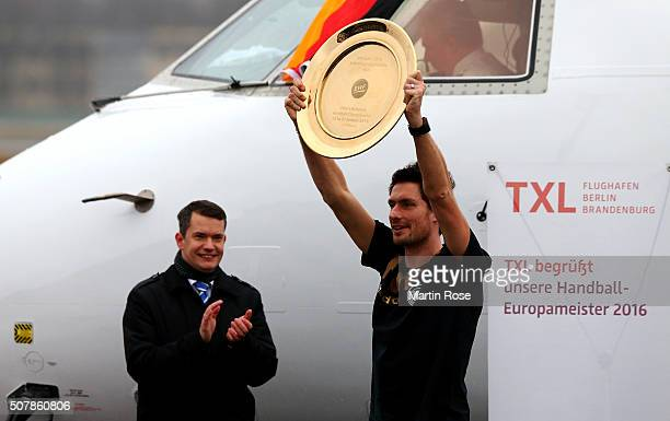 Goaltender Carsten Lichtlein of Germany arrives with the team charter at Tegel Airport on February 1 2016 in Berlin Germany