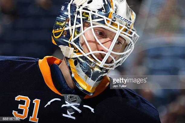 Goaltender Chad Johnson of the Buffalo Sabres plays in the game against the Tampa Bay Lightning at First Niagara Center on October 10 2015 in Buffalo...