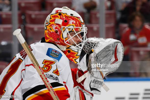Goaltender Chad Johnson of the Calgary Flames defends the net against the Florida Panthers at the BBT Center on February 24 2017 in Sunrise Florida...