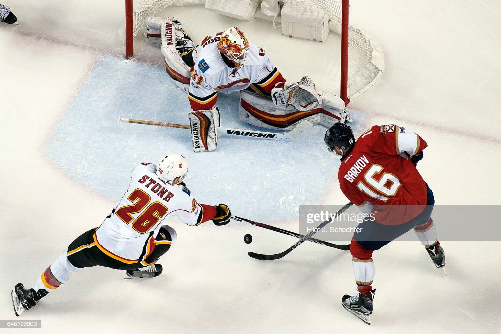 Goaltender Chad Johnson #31 of the Calgary Flames defends the net with the help of teammate Michael Stone #26 against Aleksander Barkov #16 of the Florida Panthers at the BB&T Center on February 24, 2017 in Sunrise, Florida.