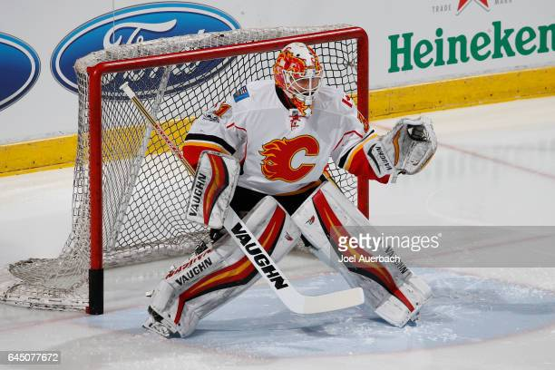 Goaltender Chad Johnson of the Calgary Flames warms up prior to the game against the Florida Panthers at the BBT Center on February 24 2017 in...